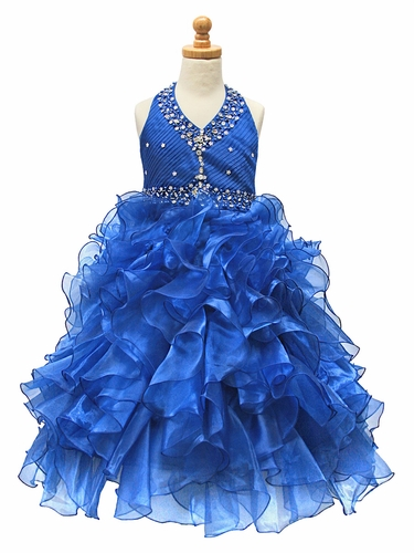 Royal Blue Beaded Halter w/ Ruffled Organza Dress