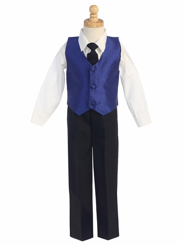 Royal Blue Boys Poly Silk Vest & Black Pant Set