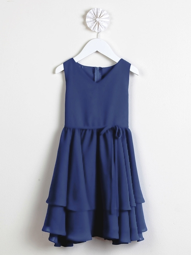 Royal Blue Chiffon Double Layered Dress