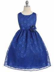 Royal Blue Floral Lace Dress