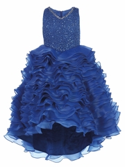 Royal Blue Gwen and Zoe V-Neck Sparkle Ruffle High Low Dress