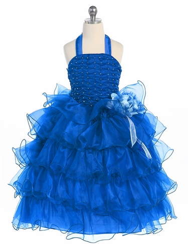 Royal Blue  Halter Dress with Ruffle Layers & Flower