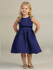 Royal Blue Pleated Jacquard Dress