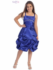 Royal Blue Satin Gathered Dress w/ Rhinestones & Pleated Waistline