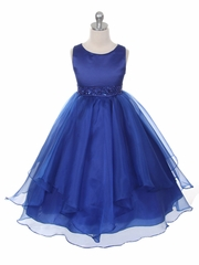 Royal Blue Satin & Organza Layered Dress