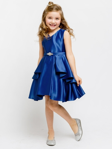 Royal Blue Satin Sleeveless V-Neck Dress w/ Ruffles