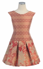 Rust Floral & Checker Embroidered Jacquard Dress