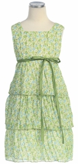 Sage 3-Tier Floral Chiffon Dress