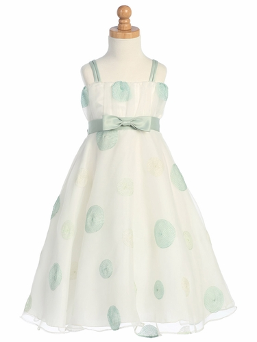 Sage Polka Dot Embroidered Organza A-Line Dress