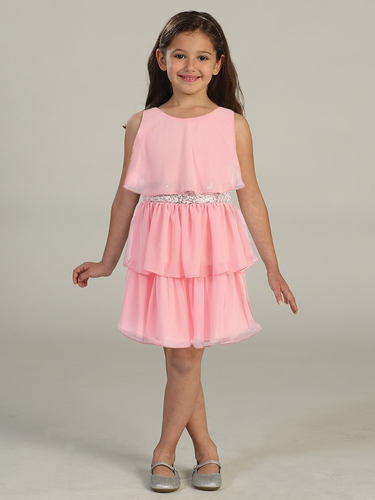 Salmon Tiered Chiffon Dress w/ Sequins Belt