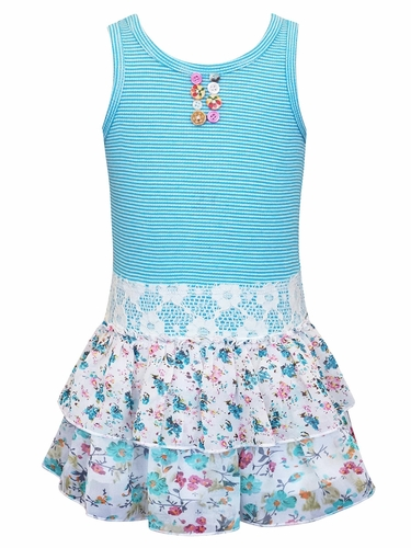 SaraSara Aqua Twofer Tank Dress w/ Button Front