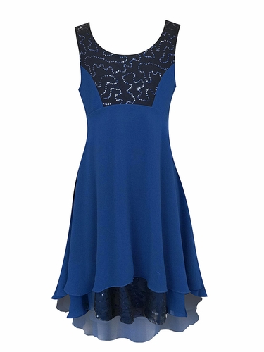SaraSara Navy Sequin Yoke Hi-Lo Dress w/ Ruffle Under Layer