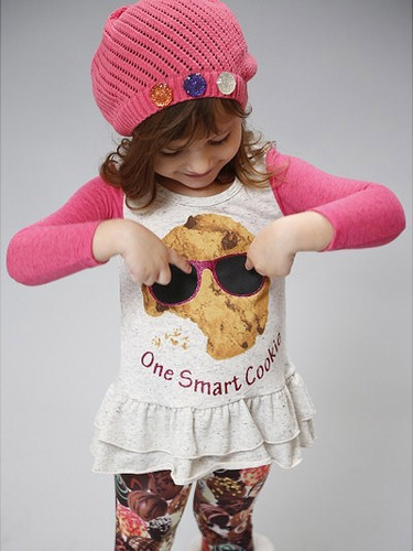 SaraSara Neon One Smart Cookie Tunic w/ Chocolate Leggings