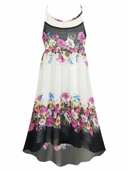 SaraSara White Floral High-Lo Dress w/ Lace Yoke