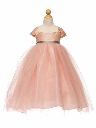Pink Silk & Tulle Dress w/ Ribbon Sash