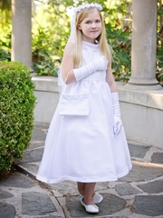 Satin Communion Dress w/ Pearl Accents & Organza Skirt