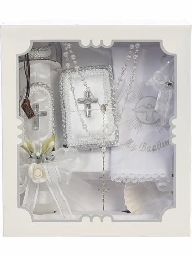 Satin Covered w/ Silver Crystal Cross Batpism Candle Set