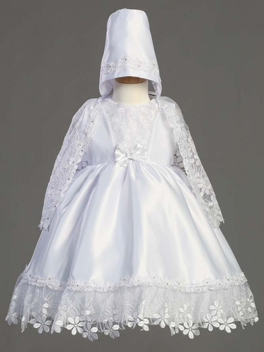 Satin Dress w/Embroidered Organza Cape Christening Gown