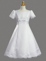 Satin Embroidered A-line Communion Dress