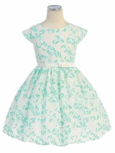 Seafoam Green Floral Lace Springtime Dress
