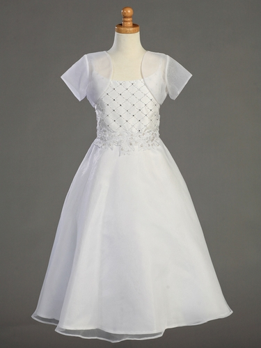 Shantung Bodice Communion Dress w/ Organza Skirt & Bolero