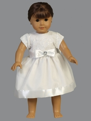 Short Sleeve Embroidered Tulle w/ Sequins & Organza Skirt 18� Doll Dress