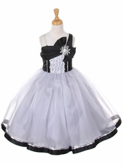 Silver & Black One Shoulder Sparkle Organza Dress