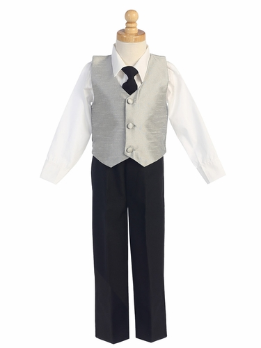 Silver Boys Poly Silk Vest & Black Pant Set