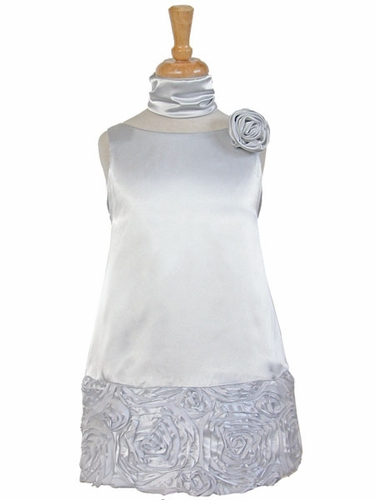 Silver Charmeuse w/Ribbon Embroidered Bottom and Pinned Flower