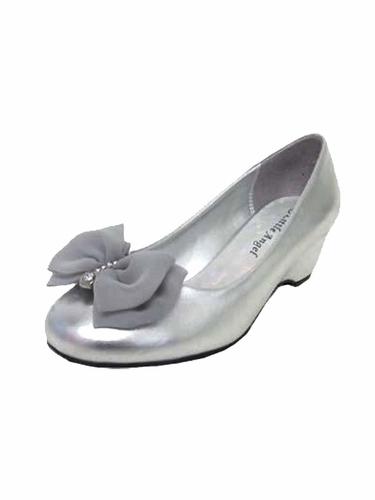 Silver Chiffon Bow Rhinestone Wedge Shoe