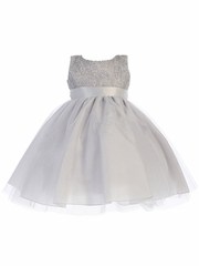 Silver Corded Tulle Bodice w/ Shiny Tulle Skirt