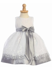 Silver Embroidered Organza Dress w/Taffeta Waistband & Bow