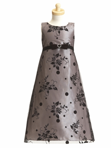 Silver Flower Girl Dress - Flocked Tulle A-Line Dress