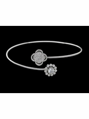 Silver Flower Wire Bangle