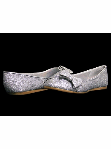 Silver Glitter Childrens Flat Shoes w/ Bow
