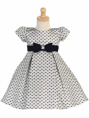 Silver Jacquard w/ Bows Holiday Dress