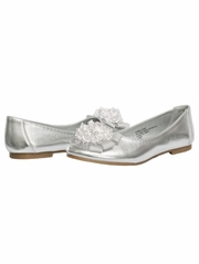 Silver Kids Flats With Crystal Bead Bow