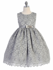Silver Lace Overlay Brooch Bow Dress