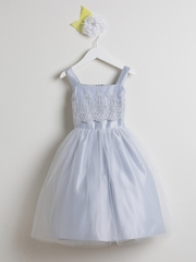 Silver Metallic Embroidered Organza w/ Tulle Dress