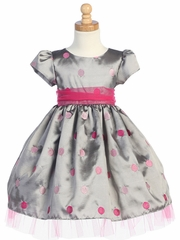 Silver/Pink Embroidered Polka-Dot Taffeta Dress w/Tulle Accents