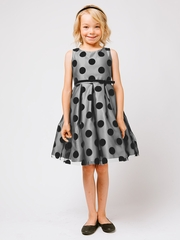 Silver Polka Dot Flocked Mesh Dress