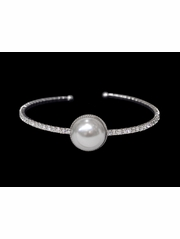 Silver Rhinestone & Pearl Bangle