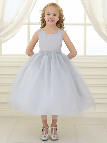 Silver Rhinestone Waistband Tulle Dress