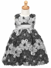 Silver Ribbon Embroidered Tulle Dress