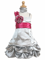 Silver Satin Gathered Bubble Dress w/ Two Tone Flower
