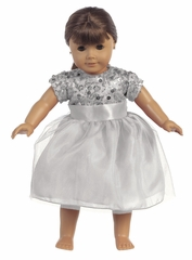 Silver Sequins W/ Tulle Doll Dress