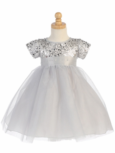 Silver Sequins W/ Tulle Dress