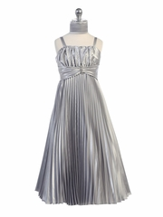 SIlver Shiny Satin Pleated Long Dress