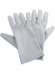 Silver Short Satin Gloves