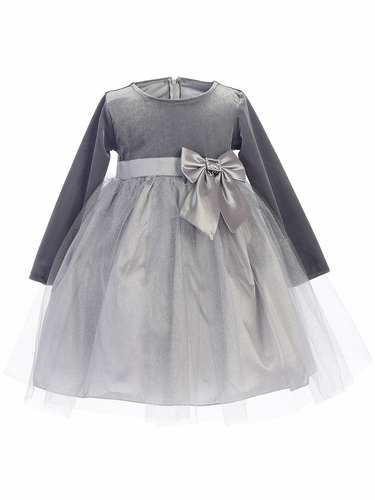 Silver Stretch Velvet w/ Glitter Tulle & Bow Dress